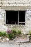 Σπασμένο ανοικτό παράθυρο ενός παλαιού εγκαταλειμμένου κτηρίου Στοκ εικόνες με δικαίωμα ελεύθερης χρήσης