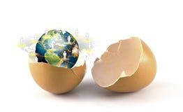 Σπασμένο αυγό με τη γη του κοινωνικού δικτύου Στοκ Εικόνες