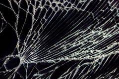 Σπασμένο γυαλί - άσπρες γραμμές στο μαύρο υπόβαθρο, στοιχείο σχεδίου Στοκ Εικόνα
