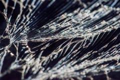 Σπασμένο γυαλί - άσπρες γραμμές στο μαύρο υπόβαθρο, στοιχείο σχεδίου Στοκ Φωτογραφίες