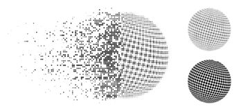 Σπασμένο εικονίδιο σφαιρών Pixelated ημίτονο διαστιγμένο περίληψη Απεικόνιση αποθεμάτων
