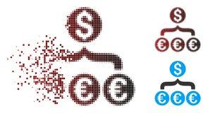 Σπασμένο εικονίδιο Aggregator μετατροπής δολαρίων εικονοκυττάρου ημίτονο ευρο- Απεικόνιση αποθεμάτων