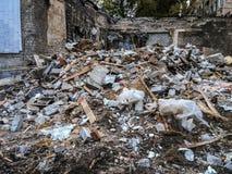 Σπασμένο κτήριο χαλασμένο από τη φυσική καταστροφή: τυφώνας Στοκ Φωτογραφία