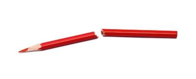 Σπασμένο κόκκινο μολύβι Στοκ Εικόνα
