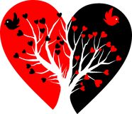 σπασμένο λευκό δέντρων καρδιών Στοκ Εικόνα