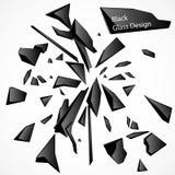 Σπασμένο μαύρο διανυσματικό σχέδιο γυαλιού Στοκ Εικόνες
