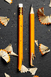 Σπασμένο μολύβι με τα ξέσματα Στοκ φωτογραφία με δικαίωμα ελεύθερης χρήσης