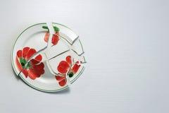 Σπασμένο πιάτο σε ένα άσπρο υπόβαθρο Στοκ εικόνα με δικαίωμα ελεύθερης χρήσης
