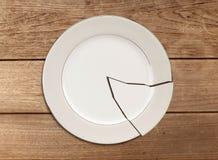 Σπασμένο πιάτο στον ξύλινο πίνακα Στοκ φωτογραφία με δικαίωμα ελεύθερης χρήσης