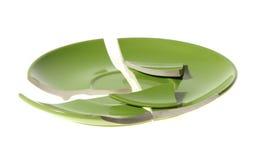 σπασμένο πράσινο πιάτο Στοκ εικόνα με δικαίωμα ελεύθερης χρήσης