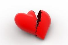 Σπασμένο σημάδι καρδιών, απώλεια έννοιας αγάπης Στοκ Φωτογραφία