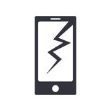 Σπασμένο τηλέφωνο απλό διανυσματικό εικονίδιο ελεύθερη απεικόνιση δικαιώματος