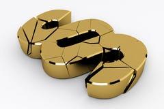 σπασμένο χρυσό σημάδι παρα&gam Στοκ φωτογραφία με δικαίωμα ελεύθερης χρήσης