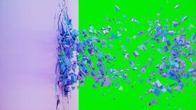 Σπασμένο χρώμα κρητιδογραφία-βιολέτων τοίχων Ο τοίχος καταστρέφεται σε χιλιάδες μικρά κομμάτια Περίληψη υπόβαθρο r ελεύθερη απεικόνιση δικαιώματος