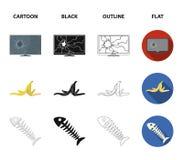 Σπασμένο όργανο ελέγχου TV, φλούδα μπανανών, σκελετός ψαριών, δοχείο απορριμάτων Καθορισμένα εικονίδια συλλογής απορριμάτων και α διανυσματική απεικόνιση