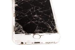 Σπασμένο iPhone 6S που αναπτύσσεται από την επιχείρηση Apple Inc Στοκ φωτογραφία με δικαίωμα ελεύθερης χρήσης
