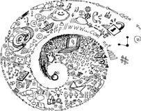Σπείρα του κοινωνικού δικτύου doodles Στοκ φωτογραφίες με δικαίωμα ελεύθερης χρήσης