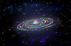 Σπειροειδές ουράνιων τόξων γαλαξιών υπόβαθρο σχεδίου θέματος γραφικό Στοκ Εικόνα