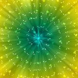 Σπειροειδείς άσπρες σημειώσεις μουσικής και θολωμένες καρδιές στο κίτρινο και πράσινο υπόβαθρο διανυσματική απεικόνιση