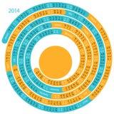 σπειροειδές ημερολόγιο του 2014 Στοκ Εικόνα