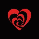 Σπειροειδές σύμβολο καρδιών του κοκκίνου αγάπης στο Μαύρο Στοκ εικόνες με δικαίωμα ελεύθερης χρήσης