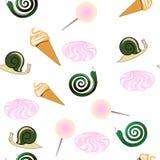 Σπειροειδής κρέμα σαλιγκαριών σχεδίων, φίδι, καραμέλα, marshmallow απεικόνιση EPS 10 διανυσματική απεικόνιση