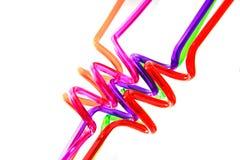 Σπειροειδή πλαστικά άχυρα χρώματος Στοκ Φωτογραφία