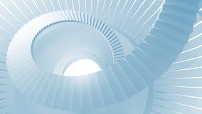 Σπειροειδή σκαλοπάτια στο μπλε αφηρημένο στρογγυλό εσωτερικό Στοκ εικόνες με δικαίωμα ελεύθερης χρήσης