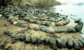 Σπειροειδείς πέτρες κοντά στο νερό Στοκ Φωτογραφία