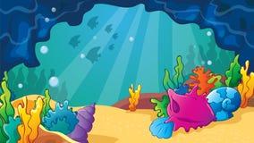 Σπηλιά θάλασσας κινούμενων σχεδίων με τα κοχύλια διανυσματική απεικόνιση