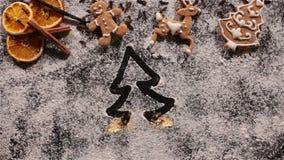 Σπινθήρες που αποκαλύπτουν και που σύρουν ένα χριστουγεννιάτικο δέντρο στο αλεύρι φιλμ μικρού μήκους