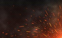 Σπινθήρες πυρκαγιάς που πετούν επάνω στο διαφανές υπόβαθρο Καπνός και καμμένος μόρια στο Μαύρο Ρεαλιστικοί σπινθήρες φωτισμού με ελεύθερη απεικόνιση δικαιώματος