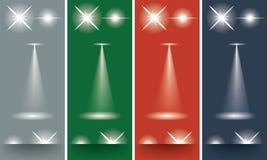 Σπινθηρίσματα εκρήξεων αστεριών ελαφριάς επίδρασης ακτίνων πυράκτωσης στο διαφορετικό υπόβαθρο Στοκ Εικόνες