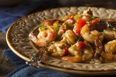 Σπιτικά γαρίδες και λουκάνικο Cajun Gumbo στοκ εικόνες