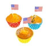 Σπιτικά εύγευστα cupcakes για τη ημέρα της ανεξαρτησίας στοκ εικόνες με δικαίωμα ελεύθερης χρήσης