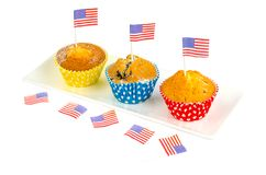 Σπιτικά εύγευστα cupcakes για τη ημέρα της ανεξαρτησίας στοκ εικόνα με δικαίωμα ελεύθερης χρήσης