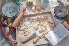 Σπιτικά ζυμαρικά με τα φρέσκα συστατικά στην ηλιόλουστη κουζίνα Στοκ εικόνα με δικαίωμα ελεύθερης χρήσης