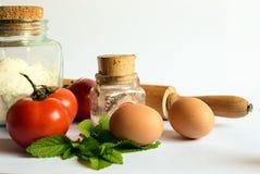 σπιτικά ζυμαρικά συστατικών τροφίμων ανασκόπησης Στοκ Εικόνες