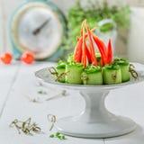 Σπιτικά διάφορα τρόφιμα δάχτυλων με τα λαχανικά και τα χορτάρια για το πρόχειρο φαγητό Στοκ Φωτογραφία