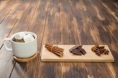 Σπιτικά καυτά σοκολάτα και καρύκευμα, χειμερινό απόγευμα Στοκ φωτογραφία με δικαίωμα ελεύθερης χρήσης