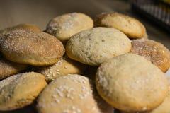 Σπιτικά μπισκότα με τη ζάχαρη, την κανέλα και το σουσάμι Στοκ εικόνες με δικαίωμα ελεύθερης χρήσης