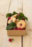 Σπιτικά μπισκότα με τη μαρμελάδα σμέουρων και φρέσκο rasp Στοκ Φωτογραφίες