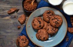Σπιτικά μπισκότα σοκολάτας σε ένα πιάτο με το γάλα Στοκ Εικόνα