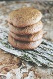 Σπιτικά μπισκότα σοκολάτας για το πρόχειρο φαγητό Μπισκότα τσιπ σοκολάτας που πυροβολούνται στο κεραμικό βάζο Στοκ φωτογραφία με δικαίωμα ελεύθερης χρήσης