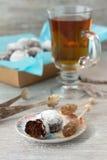 Σπιτικά μπισκότα σοκολάτας στην κονιοποιημένη ζάχαρη με τη ζάχαρη τσαγιού και καραμέλας Στοκ Φωτογραφίες