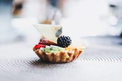 Σπιτικά ξινά επιδόρπιο, βακκίνιο και φρούτα στοκ εικόνα με δικαίωμα ελεύθερης χρήσης