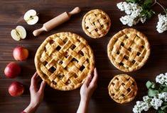 Σπιτικά οργανικά θηλυκά χέρια λαβής πιτών μήλων στο σκοτεινό ξύλινο πίνακα κουζινών με τα λουλούδια και τα μήλα επιδόρπιο παραδοσ Στοκ εικόνα με δικαίωμα ελεύθερης χρήσης