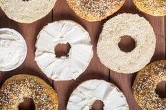 Σπιτικά bagels με το τυρί κρέμας Στοκ Εικόνες