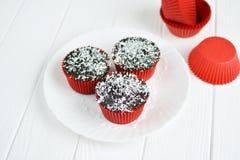 Σπιτικά cupcakes με το λούστρο και την καρύδα σοκολάτας Στοκ φωτογραφία με δικαίωμα ελεύθερης χρήσης