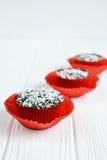 Σπιτικά cupcakes με το λούστρο και την καρύδα σοκολάτας Στοκ Εικόνες